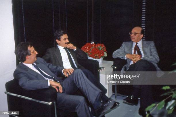 Prime Minister Bettino Craxi at the Italian socialist party congress with Massimo D'Alema and Walter Veltroni, Rimini 1987.