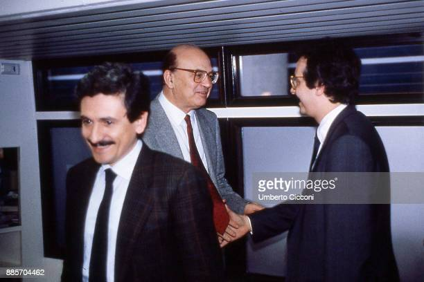 Prime Minister Bettino Craxi at the Italian socialist party congress with Massimo D'Alema and Walter Veltroni Rimini 1987