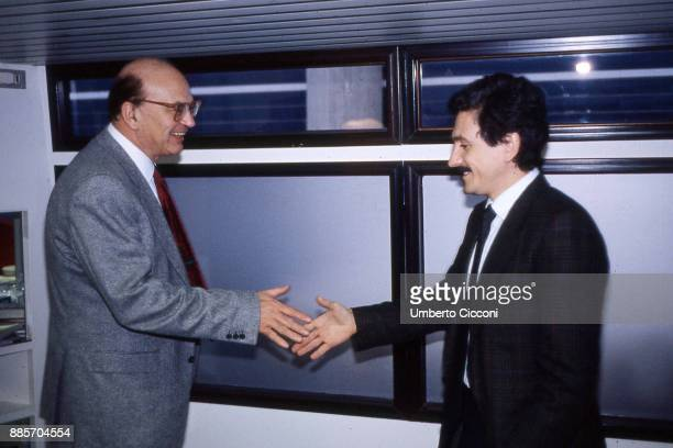 Prime Minister Bettino Craxi at the Italian socialist party congress with Massimo D'Alema, Rimini 1987.