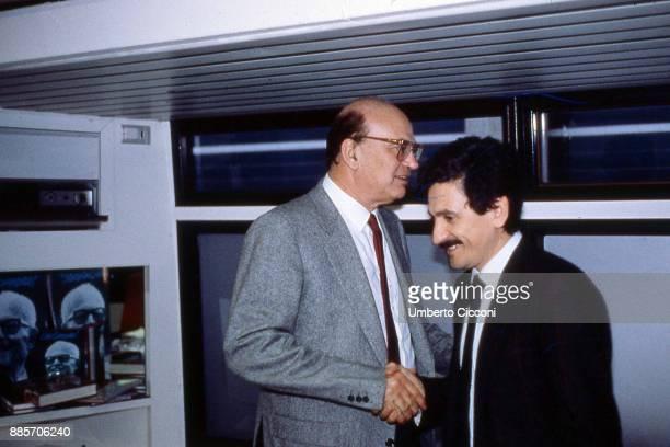 Prime Minister Bettino Craxi at the Italian socialist party congress with Massimo D'Alema, Rimini 1987.