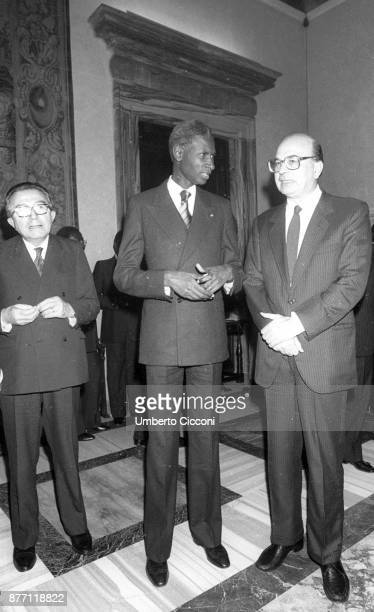 Prime Minister Bettino Craxi with President of Senegal Abdou Diouf and Italian politician Giulio Andreotti at Villa Madama Rome 1984
