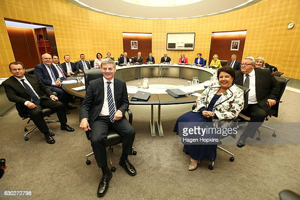 Prime Minister Bill English and deputy Paula Bennett sit with cabinet ministers during a cabinet meeting at The Beehive on December 20 2016 in...