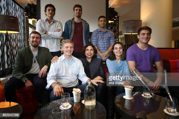 Prime Minister Bill English and his wife Mary English pose with their children Bartholomew Luke Rory Tom Maria and Xavier at the Pullman Hotel on...