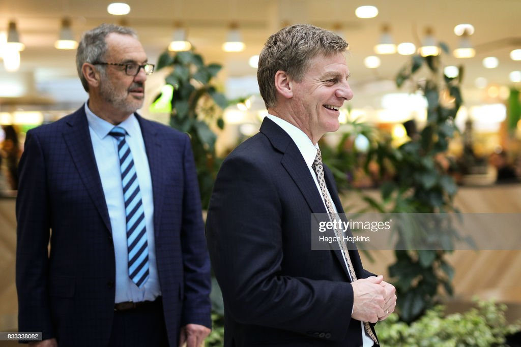 Prime Minister Bill English and National candidate for Mana, Euon Murrell, look on during a visit to North City Shopping Centre on August 17, 2017 in Wellington, New Zealand. Earlier the Prime Minister announced $9 million will be invested in the redevelopment of Mana College. The redevelopment will involve the demolition of some existing facilities, the remediation and modernisation of other buildings and the creation of new, flexible learning spaces. New Zealand's 2017 General Election will be held on Saturday 23 September.