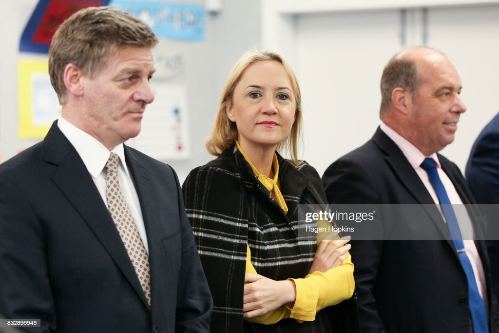 Prime Minister Bill English, Education Minister Nikki Kaye and MP Brett Hudson look on during an announcement at Mana College on August 17, 2017 in Wellington, New Zealand. The Prime Minister announced $9 million will be invested in the redevelopment of Mana College. The redevelopment will involve the demolition of some existing facilities, the remediation and modernisation of other buildings and the creation of new, flexible learning spaces.