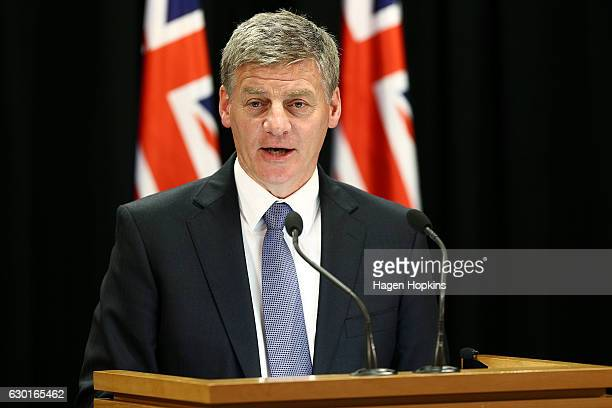 Prime Minister Bill English speaks to media during a press conference at Parliament on December 18 2016 in Wellington New Zealand Bill English was...