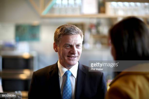 Prime Minister Bill English talks with shoppers in the Lynn Mall Shopping Centre on August 31 2017 in Auckland New Zealand The Prime Minister today...