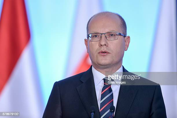 Prime Minister Bohuslav Sobotka attends the meeting of The Visegrad Group on July 21, 2016 in Warsaw, Poland. The Visegrad Group is an alliance of...