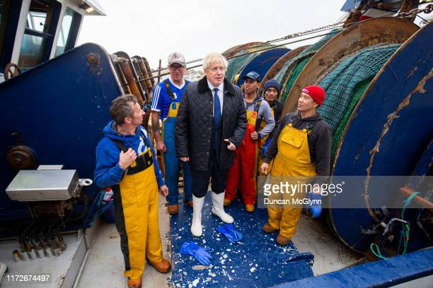 Prime Minister Boris Johnson aboard the Opportunis IV fishing trawler on September 6 2019 in Peterhead Aberdeenshire Scotland The Prime Minister...