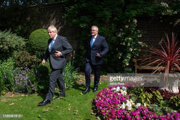 Prime Minister Boris Johnson and Australian Prime Minister Scott Morrison in the garden of 10 Downing Street, after agreeing the broad terms of a...