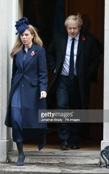 Prime Minister Boris Johnson and Carrie Symonds in Downing Street arriving for the Remembrance Sunday service at the Cenotaph memorial in Whitehall...