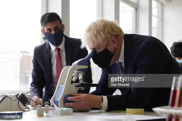 Prime Minister Boris Johnson and Chancellor Rishi Sunak take part in a science lesson at King Solomon Academy in Marylebone, on April 29, 2021 in...