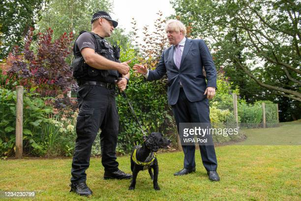 Prime Minister Boris Johnson and Dog segment Mike Barnes with cocker spaniel proactive drugs dog during a visit to Surrey Police headquarters on July...