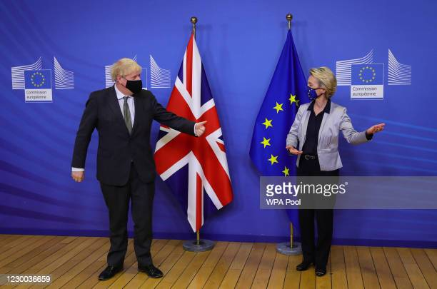 Prime Minister Boris Johnson and European Commission president Ursula von der Leyen meet for a dinner during they will try to reach a breakthrough on...