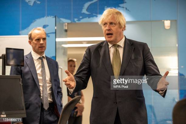 Prime Minister Boris Johnson and Foreign Secretary Dominic Raab visit The Foreign, Commonwealth and Development Office Crisis Centre at the Foreign...