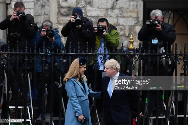 Prime Minister Boris Johnson and his fiancee Carrie Symonds leave the Commonwealth Day Service 2020 at Westminster Abbey on March 09, 2020 in London,...