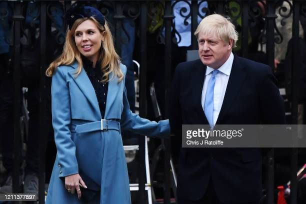 Prime Minister Boris Johnson and his fiancee Carrie Symonds leave the Commonwealth Day Service 2020 at Westminster Abbey on March 09 2020 in London...