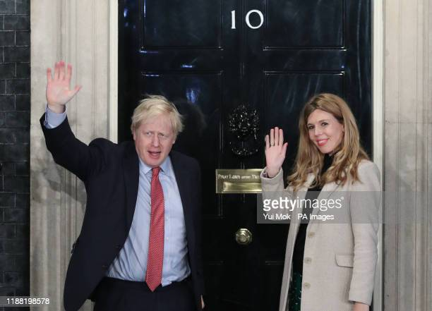 Prime Minister Boris Johnson and his girlfriend Carrie Symonds arrive in Downing Street after the Conservative Party was returned to power in the...