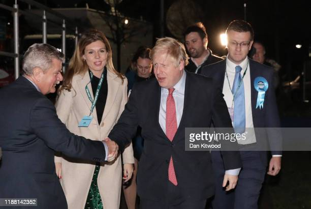 Prime Minister Boris Johnson and his partner Carrie Symonds attend the vote count for his Uxbridge and South Ruislip constituency on December 13 2019...
