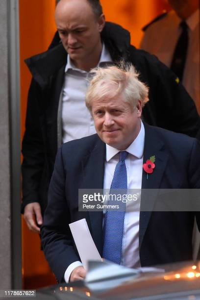 Prime Minister Boris Johnson and his political advisor Dominic Cummings leave 10 Downing Street on October 28 2019 in London England EU leaders have...
