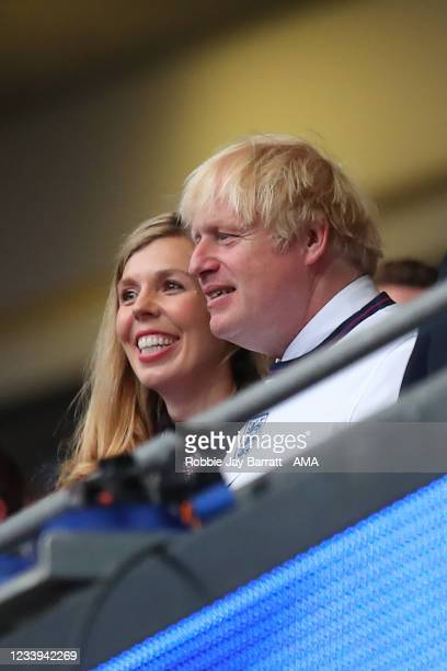 Prime Minister, Boris Johnson and his wife Carrie Johnson during the UEFA Euro 2020 Championship Final between Italy and England at Wembley Stadium...