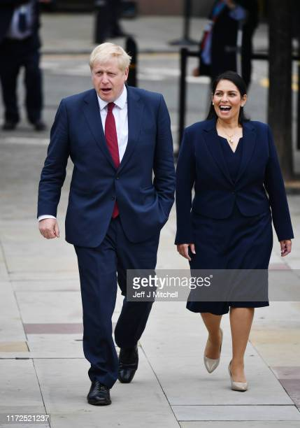 Prime Minister Boris Johnson and Home Secretary Priti Patel attend day two of the 2019 Conservative Party Conference at Manchester Central on...