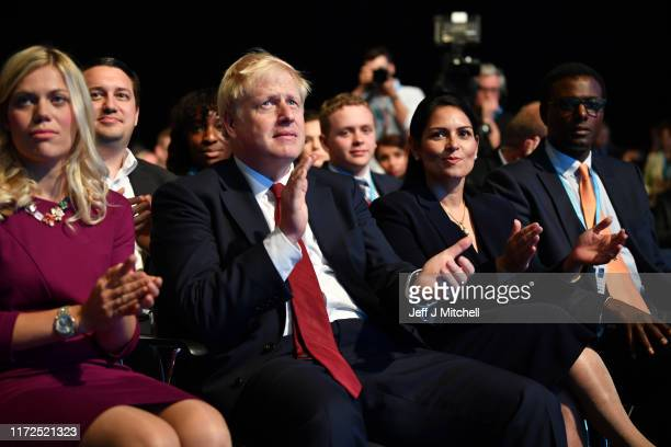 Prime Minister Boris Johnson and Home Secretary, Priti Patel attend day two of the 2019 Conservative Party Conference at Manchester Central on...