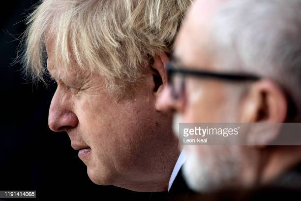 Prime Minister Boris Johnson and Labour Leader Jeremy Corbyn attend a vigil for victims Jack Merritt and Saskia Jones 23 of the London Bridge attack...