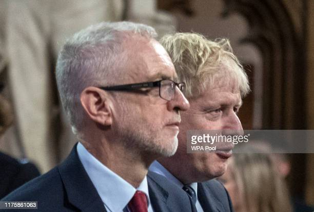 Prime Minister Boris Johnson and Labour leader Jeremy Corbyn attend the State Opening of Parliament at the Palace of Westminster on October 14 2019...