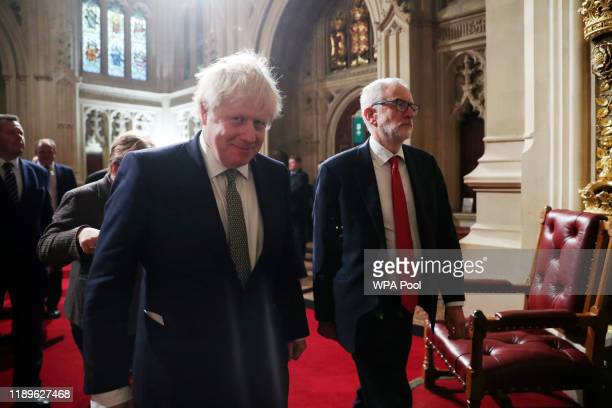 Prime Minister Boris Johnson and Labour Party leader Jeremy Corbyn arrive for the state opening of parliament at the Houses of Parliament on December...