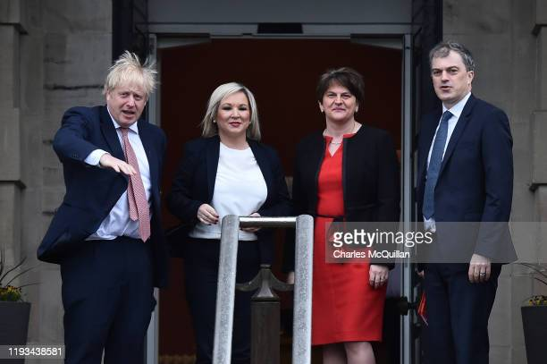 Prime Minister Boris Johnson and Secretary of State for Northern Ireland, Julian Smith are greeted by First Minister, Arlene Foster of the DUP and...