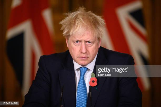 Prime Minister Boris Johnson answers questions during a briefing on the current coronavirus pandemic, in Downing Street on November 5, 2020 in...