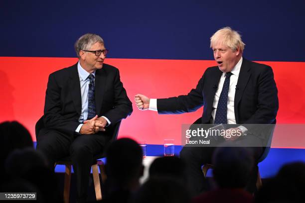 Prime Minister Boris Johnson appears on stage in conversation with American Businessman Bill Gates during the Global Investment Summit at the Science...