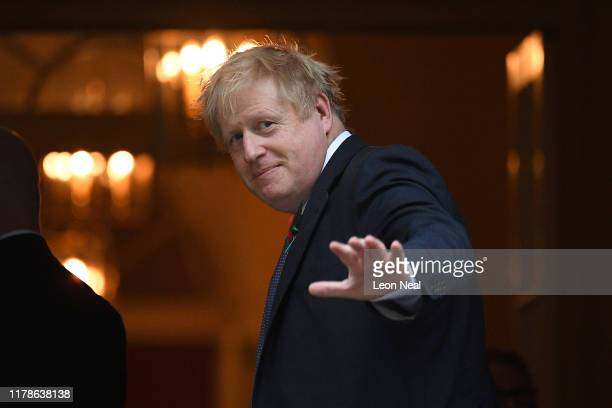 Prime Minister Boris Johnson arrives at Downing Street on October 28 2019 in London England EU leaders have announced that an agreement to extend...