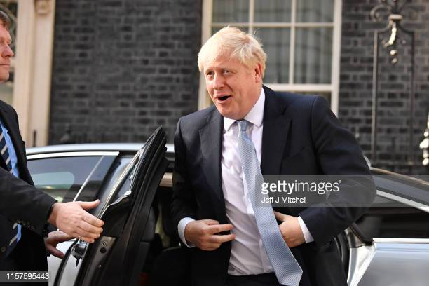 Prime Minister Boris Johnson arrives back at Downing Street to appoint his cabinet on July 24, 2019 in London, England. Boris Johnson took the office...