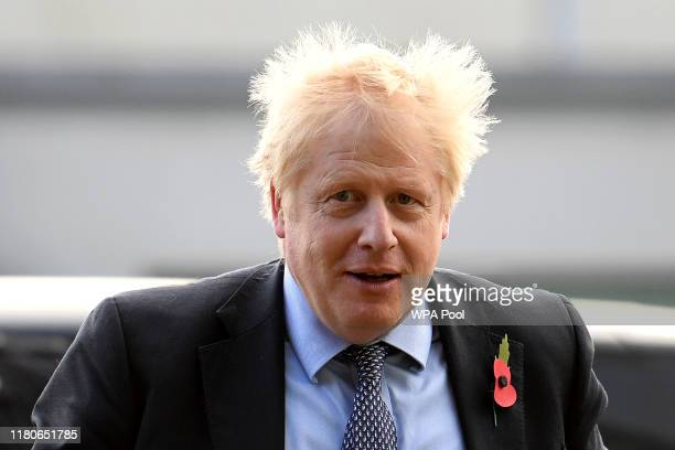 Prime Minister Boris Johnson arrives for a general election campaign visit to Diageo's Roseisle Distillery on November 07 2019 near Elgin in Scotland...