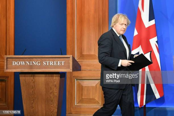 Prime Minister Boris Johnson, arrives for a media briefing on coronavirus in Downing Street on April 5, 2021 in London, England. The UK is set to...