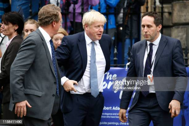 Prime Minister Boris Johnson arrives to meet Scotland's First Minister Nicola Sturgeon at Bute House on July 29 2019 in Edinburgh Scotland The PM is...
