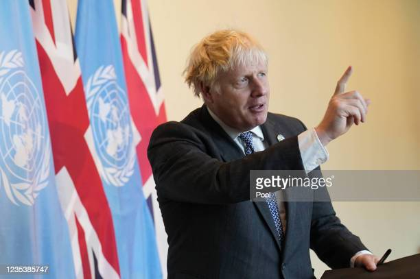 Prime Minister Boris Johnson at the United Nations General Assembly in New York after meeting Secretary-General of the United Nations Antonio...