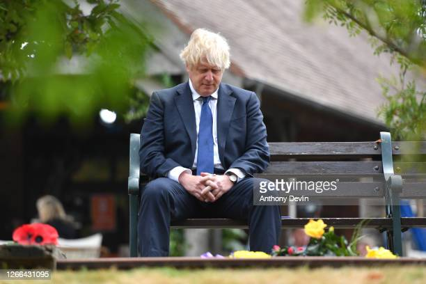 Prime Minister Boris Johnson attends a national service of remembrance, marking the 75th Anniversary of VJ Day, at The National Memorial Arboretum on...