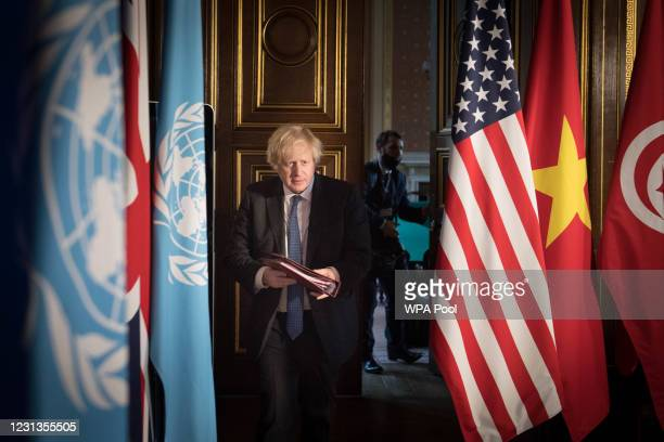 Prime Minister Boris Johnson chairs a session of the UN Security Council on climate and security at the Foreign, Commonwealth and Development Office...