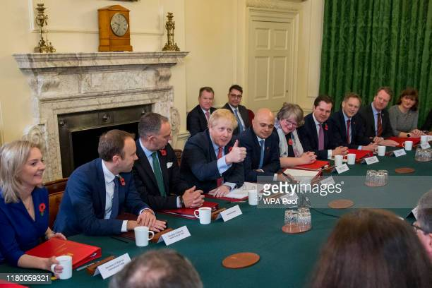 Prime Minister Boris Johnson conducts his last cabinet meeting before the general election, at 10 Downing Street on November 5, 2019 in London,...