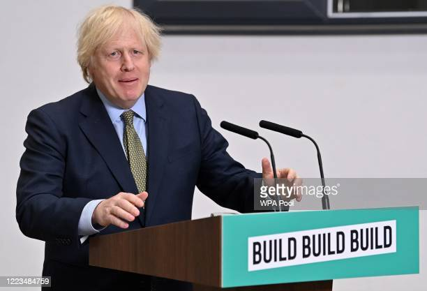 Prime Minister Boris Johnson delivers a speech during his visit to Dudley College of Technology on June 30, 2020 in Dudley, England. Johnson said...