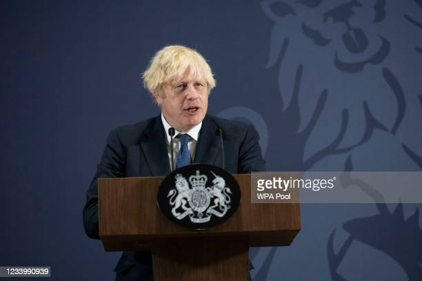 Prime Minister Boris Johnson delivers a speech on 'levelling up the country' as he visits the UK Battery Industrialisation Centre, on July 15, 2021...