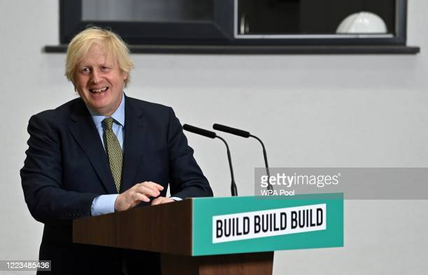 Prime Minister Boris Johnson delivers a speech to socially distanced apprentices during his visit to Dudley College of Technology on June 30, 2020 in...