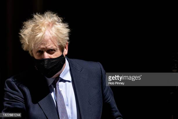 Prime Minister Boris Johnson departs 10 Downing Street before Prime Minister's Questions on June 09, 2021 in London, England.