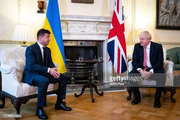 Prime Minister Boris Johnson during a meeting with President of Ukraine Volodymyr Zelenskyy to sign a strategic partnership deal with the president...