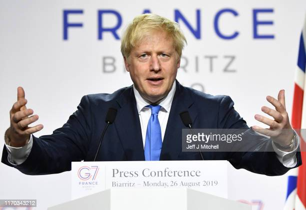 Prime Minister Boris Johnson during a press conference in the Bellevue hotel conference room at the conclusion of the G7 summit on August 24, 2019 in...