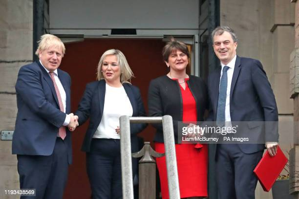 Prime Minister Boris Johnson , First Minister, Arlene Foster of the DUP , deputy First Minister Michelle O'Neill of Sinn Fein, and Secretary of State...