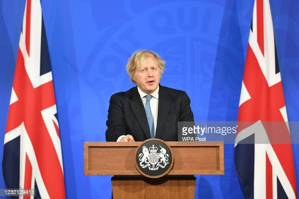 Prime Minister Boris Johnson, gives a media briefing on coronavirus in Downing Street on April 5, 2021 in London, England. The UK is set to allow a...